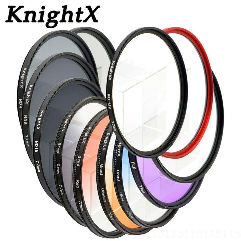 KnightX ND FLD UV MC Star สีเลนส์กรอง52มม.58มม.67 55 77มม.สำหรับ Nikon Canon EOS 7D 5D 6D 50D 60D 600D D5200 D3300 D3200 T5i