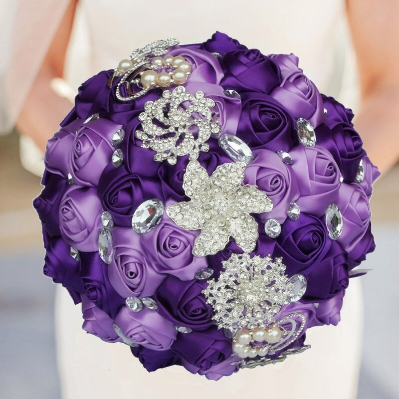 WIFELAI-A ประดิษฐ์ช่อดอกไม้มือทำดอกไม้ Rhinestone เพื่อนเจ้าสาวคริสตัล Bridal Bouquet de mariage W228