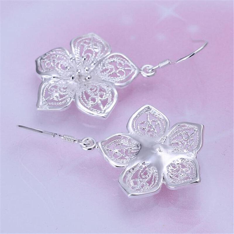 أقراط زهرة فضية اللون رائعة ، مجوهرات ذات جودة عالية E035 ، شحن مجاني ، هدايا عيد الميلاد