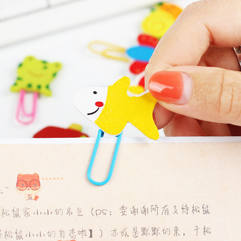 12 PCS Nette Tier Cartoon Gemalt Holz Paperclip Burst Modelle Schreibwaren Großhandel Papier Clips Clip