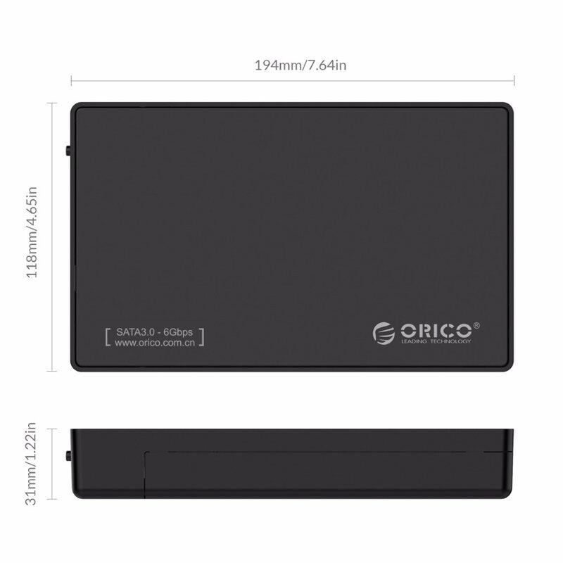 ORICO 3588US3-حاوية محرك أقراص صلبة خارجية SATA مقاس 3.5 بوصة, USB 3.0 ، HDD ، حافظة ، أدوات مجانية لـ SATA HDD و SSD 3.5 بوصة
