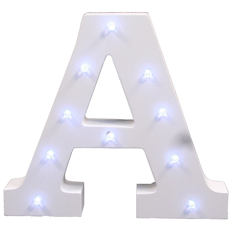 6 ''weiß Holz Brief FÜHRTE Festzelt Zeichen Alphabet Licht Indoor Wand Leuchten Nacht Licht Hochzeit Event Dekoration Geschenke