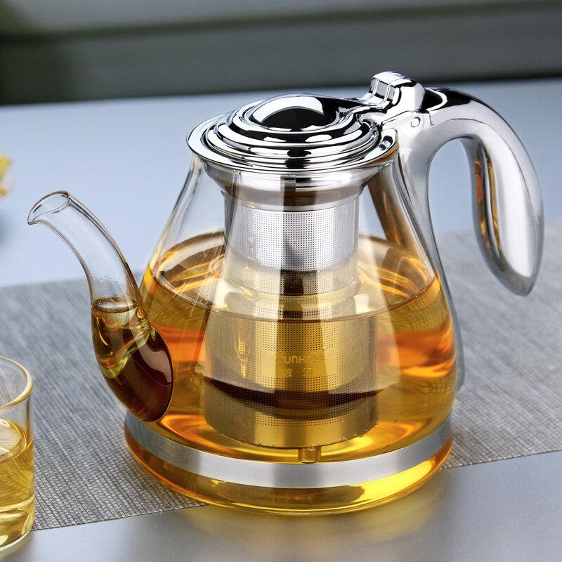 ขนาดใหญ่ความจุหม้อชาแก้วElegantถ้วยกาน้ำชา Чайник