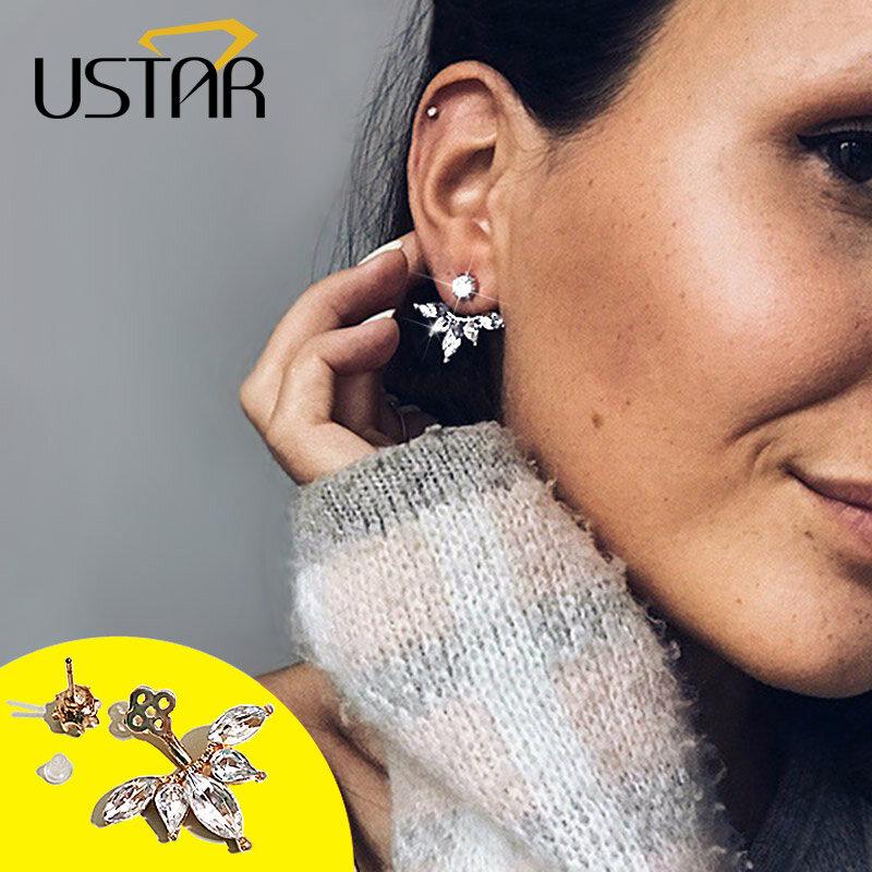 USTAR-أقراط مرصعة بالكريستال على شكل ورقة شجر للنساء ، مجوهرات فضية اللون على الوجهين ، عصرية