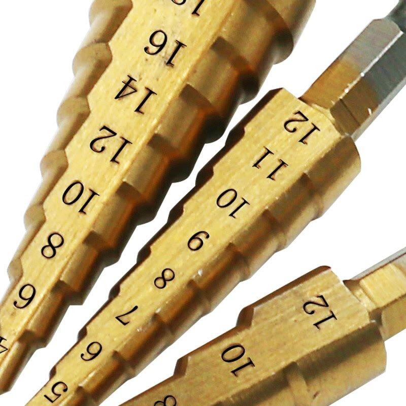 3 قطعة 3-12 مللي متر 4-12 مللي متر 4-20 مللي متر التيتانيوم خطوة لقمة ثقب HSS 4241 الطاقة التدريبات أدوات