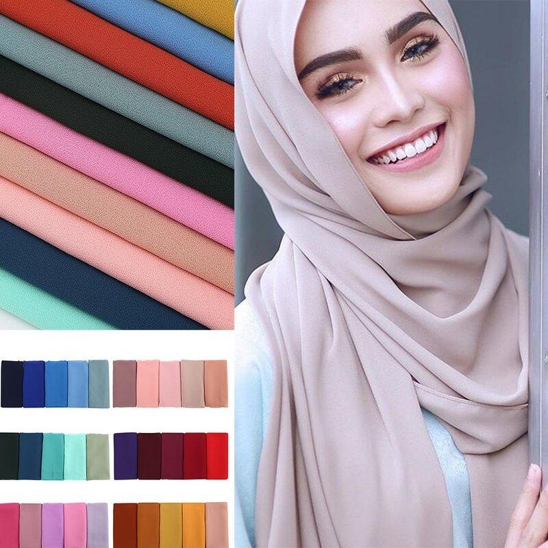 Frauen plain blase chiffon schal hijab wrap printe einfarbig schals stirnband muslimischen hijabs schals/schal 60 farben