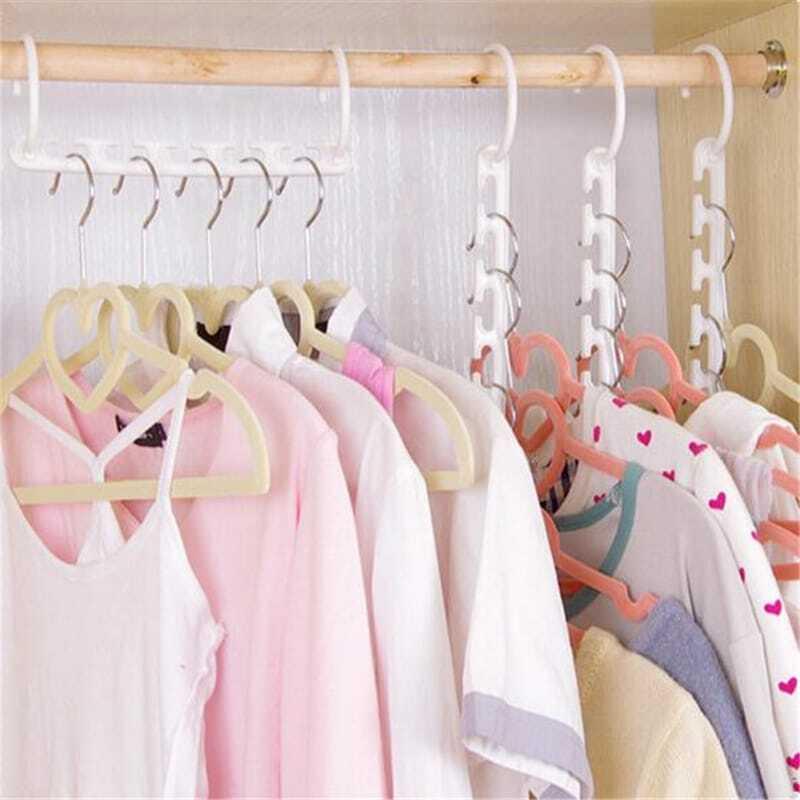 Delidge 1 قطعة الفضاء توفير شماعات البلاستيك القماش شماعات الملابس السحرية شماعات مع هوك حجرة منظم