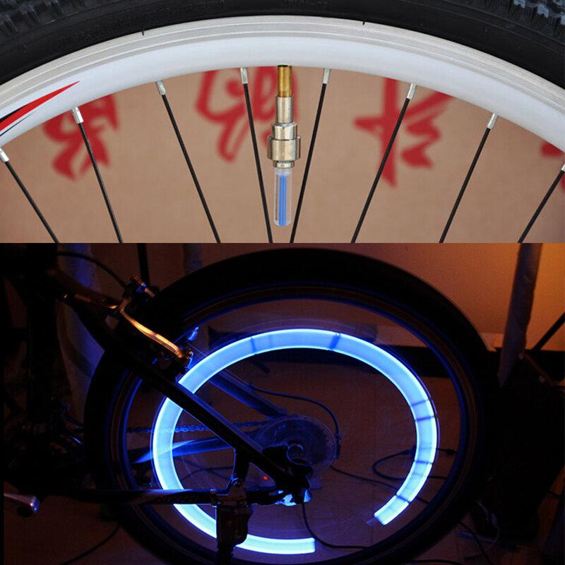 Bike light ไม่มีแบตเตอรี่จักรยานเสือภูเขาจักรยานไฟ LEDS ยางวาล์ว Caps ล้อ spokes LED Light BL0157
