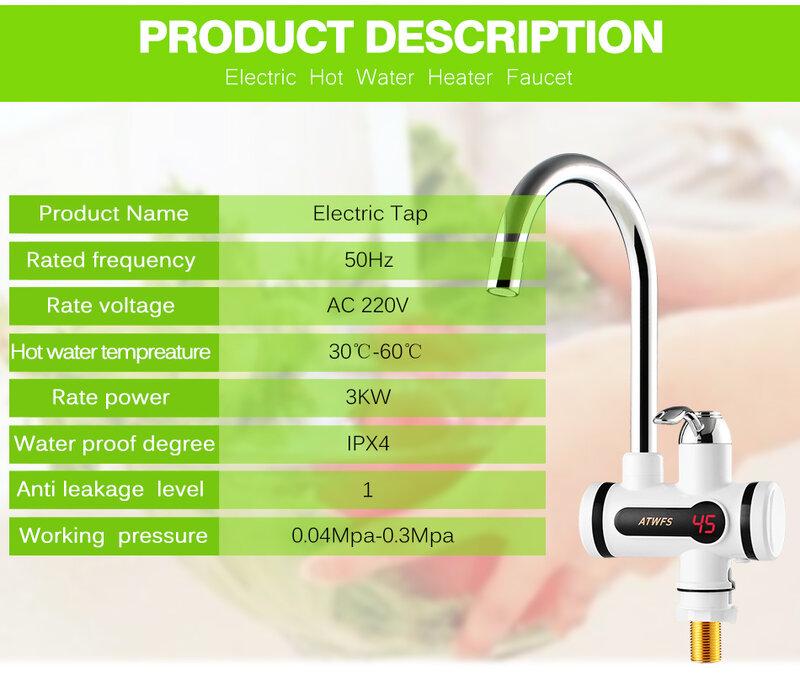 ATWFS – robinet chauffe-eau électrique instantané 3000 W, robinet de cuisine, sans réservoir, affichage numérique, eau chaude