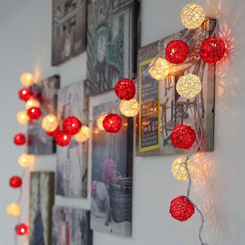 5m 20 등나무 공 조명 led 문자열 요정 휴일 크리스마스 조명 야외 guirlande lumineuse exterieur luces decorativas
