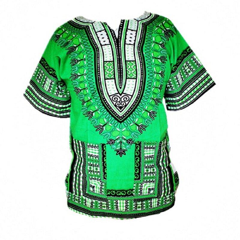 تي شيرت Dashiki 100% قطن للجنسين ، تصميم أفريقي تقليدي ، ملابس مطبوعة ، صنع في تايلاند ، شحن سريع