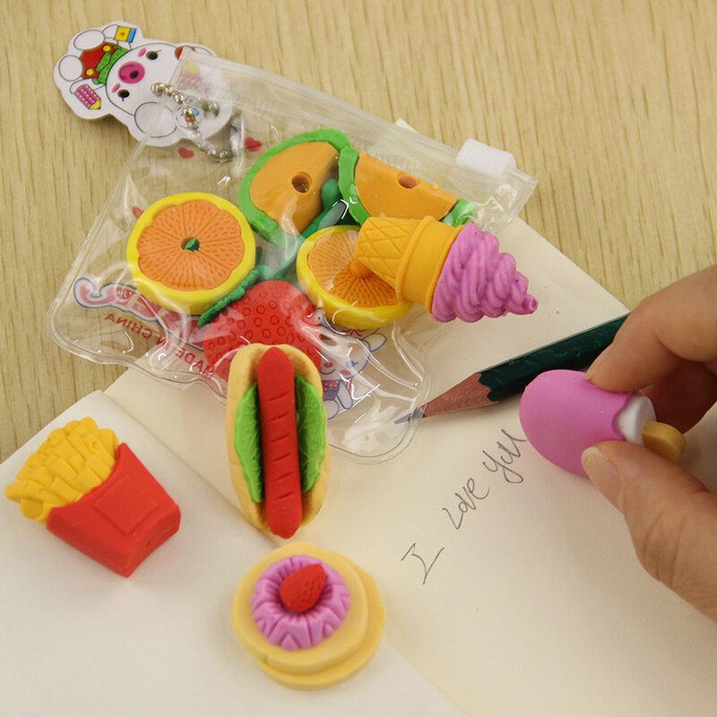 1 حزمة لطيف الفاكهة المطبخ شكل المطاط ممحاة طالب التعلم القرطاسية ل الطفل الإبداعية هدية