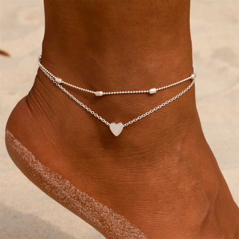 간단한 심장 여성 Anklets 맨발 크로 셰 뜨개질 샌들 발 쥬얼리 다리 발목에 새로운 Anklets 여성 다리 체인에 대 한 발목 팔찌