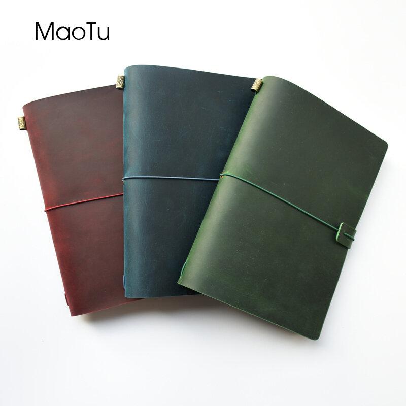 MaoTu หนัง Journal Refillable Notebook Hand-Crafted หนังแท้ไดอารี่ฟรีอักษรแกะสลัก