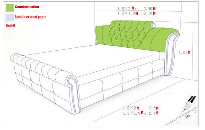 침실 용 1.5 m 1.8 m 흰색 유럽 가죽 침대 # CE-095