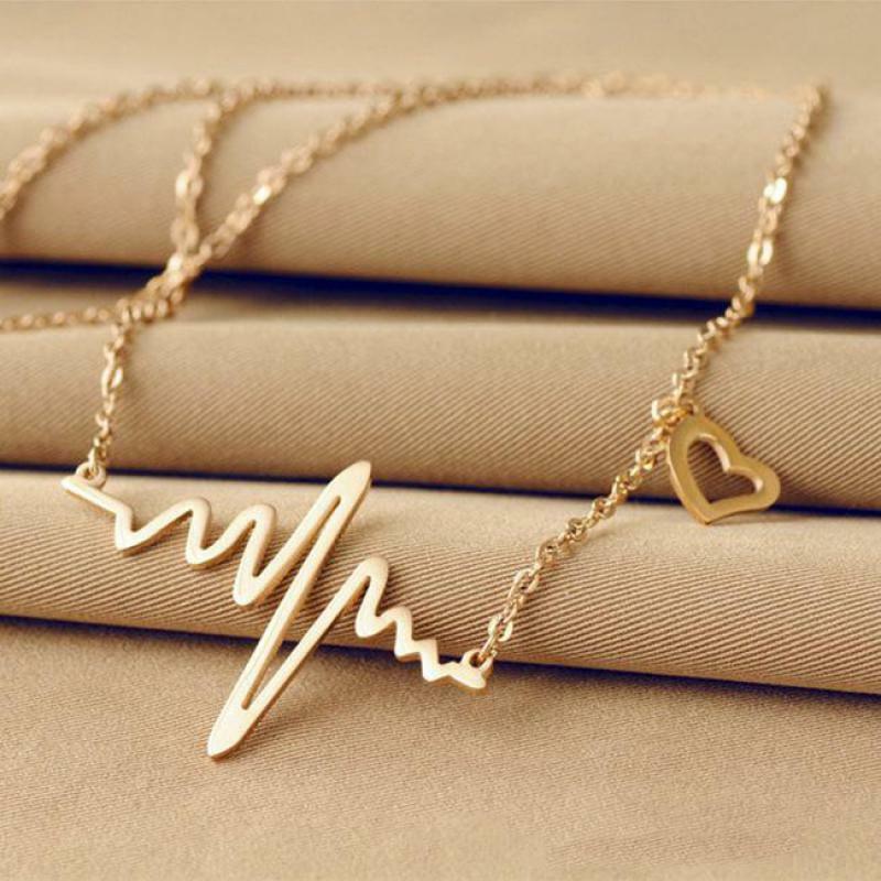 قلادة على شكل قلب مموج للنساء ، إكسسوار مجوهرات عتيق ، أنيق ، Ecg ، نبضة ، قلادة برق