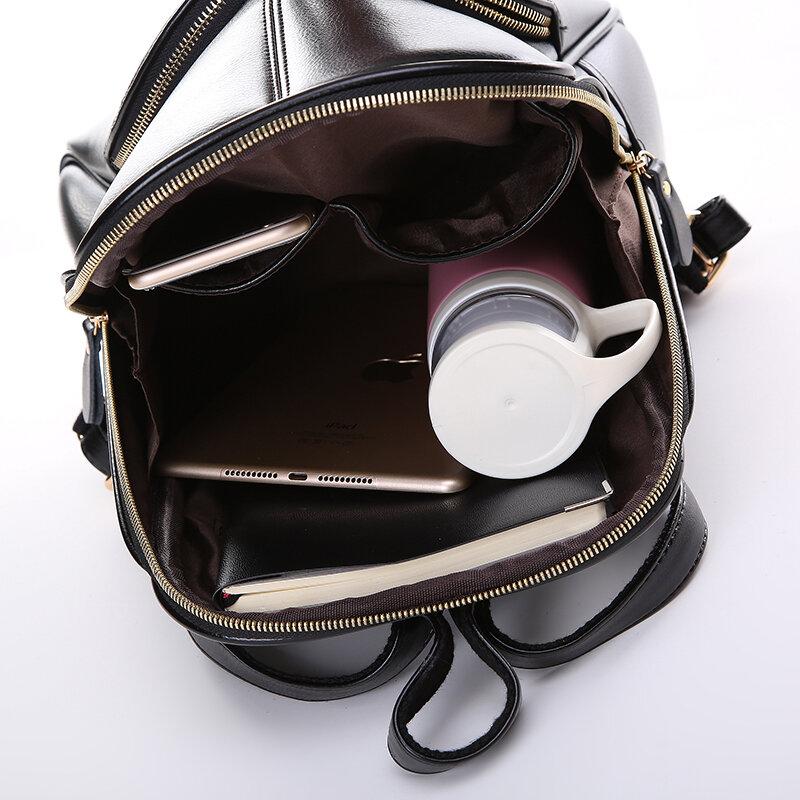 رواج ستار! 2020 موضة جديدة على ظهره المرأة على ظهره حقيبة مدرسية جلدية المرأة عادية نمط YA80-165