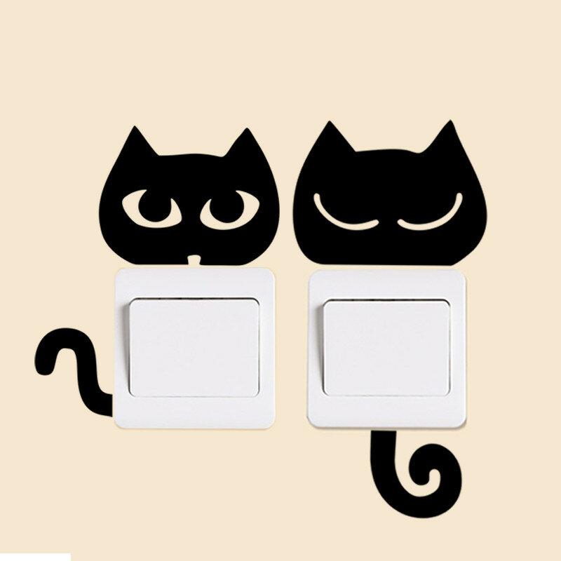 Fai da te divertente carino gatto nero cane ratto Mouse Animls interruttore decalcomania adesivi murali casa decalcomanie camera da letto camera dei bambini luce salotto Decor