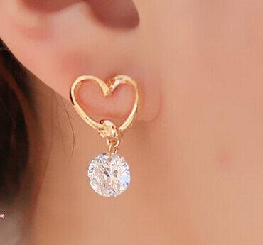 E020 di Disegno di Marca di Nuovo Modo caldo di Cristallo Di Lusso Popolare Della Vite Prigioniera di Zircon Del Cuore Orecchini Eleganti orecchini gioielli per le donne 2016