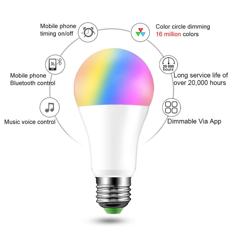 20 모드 스마트 전구 블루투스 LED 전구 무선 제어 E27 B22 15W 매직 RGB 램프 홈 장식 IOS/안드로이드에 적용
