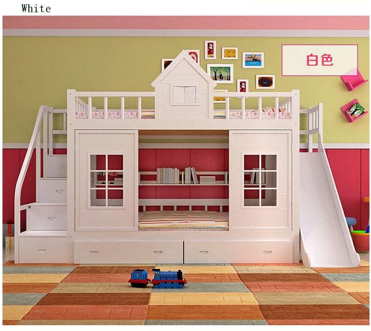 2020 moderna in legno massiccio letto in legno Per Bambini letto a castello con scaletta cabinet cursore