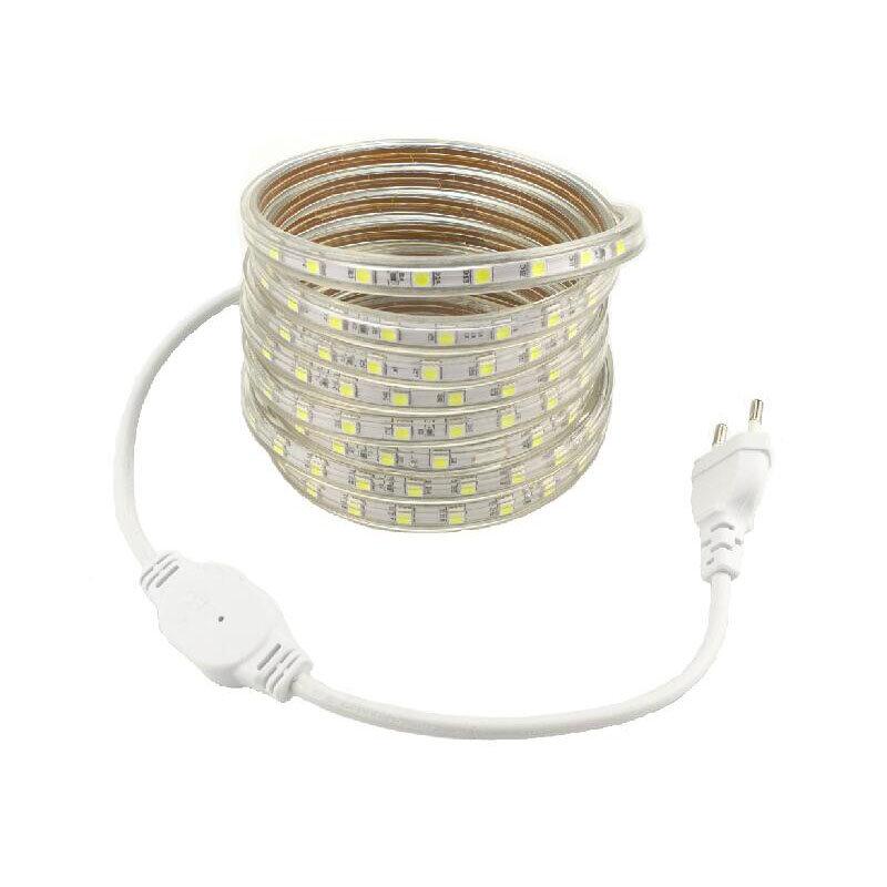 220V ไฟ LED Strip กันน้ำ 5050 60L/M EU ปลั๊ก 1 M 2 M 3 M 4 M 5 M 10 M 20 M 30m 50m Tira Ruban 220V FLEX เทปริบบิ้น