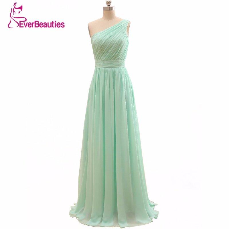 فستان إشبينة العروس أخضر نعناعي ، أقل من 50 طول الأرض ، شيفون ، أرجوحة ، رخيصة ، 2020