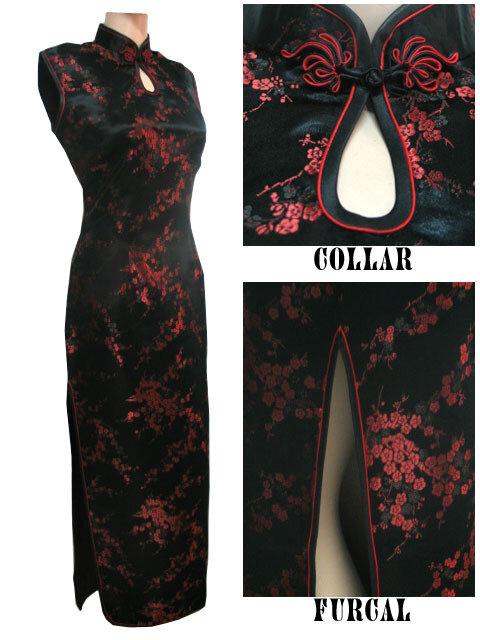 สีดำ-จีนแบบดั้งเดิมชุดสตรีซาตินยาวHalter Cheongsam Qipao Mujere Vestidoดอกไม้ขนาดS M L XL XXL XXXL J3035