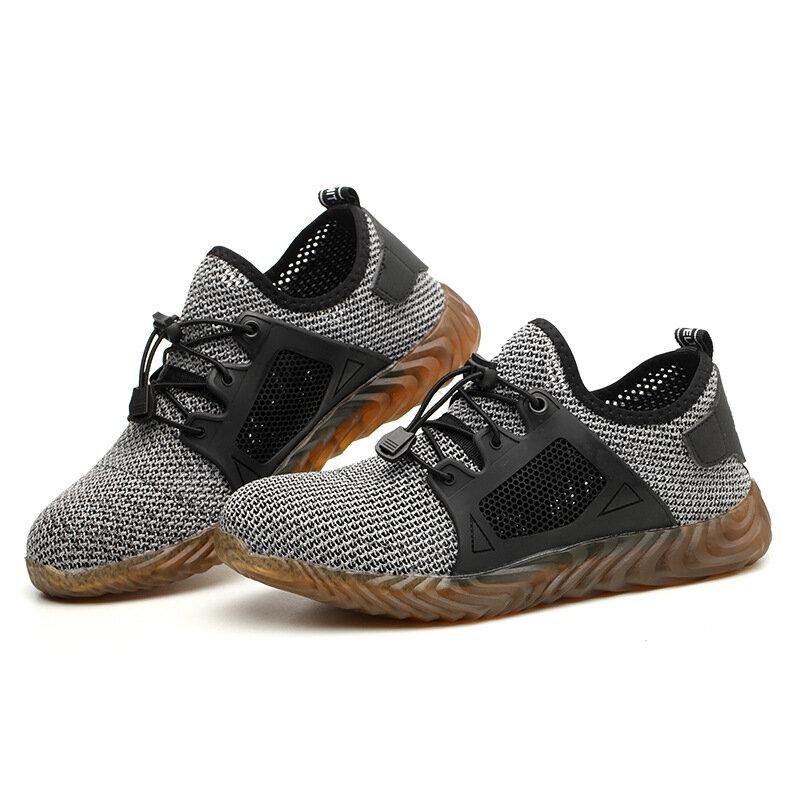 Chaussures de sécurité en maille respirante pour hommes, baskets légères à bout en acier Indestructible, bottes de travail souples Anti-perçage
