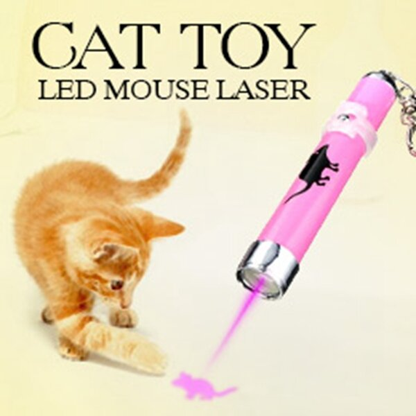 مؤشر LED على شكل قطة ، لعبة قطة مبتكرة وممتعة ، مع فأرة متحركة ساطعة