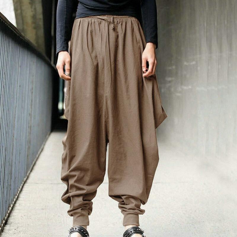 Pantalones S 5xl De Estilo Japones Para Hombre Pantalon Cruzado De Samurai Holgado De Algodon Con Entrepierna Baja Pantalon Deportivo Estilo Hip Hop Pantalones