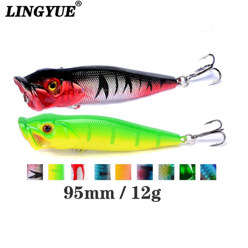 Leurre de pêche Popper avec yeux 3d, appât artificiel idéal pour la pêche en surface, Crankbait, wobbler, 9.5cm, 12g, 1 pièce, japon