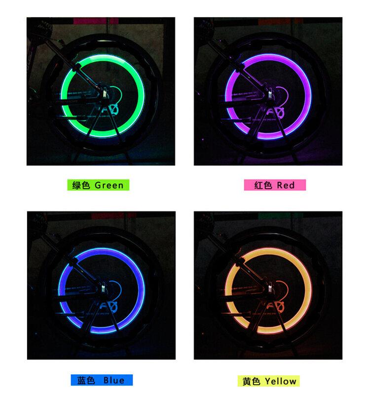 مصباح LED للدراجة الجبلية والطرق ، بدون بطارية ، صمام الإطارات ، أغطية الصمامات ، مصابيح العجلات MN0158