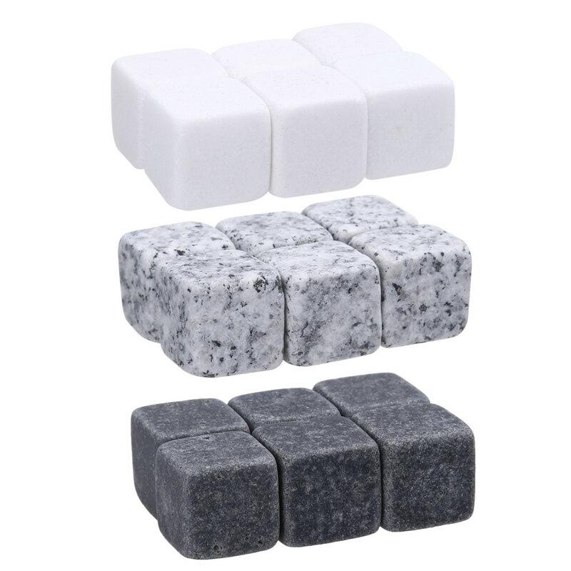 6 pcs Natural Whiskey Stones Wine Cooler Sipping Ice Cube หินสำหรับวิสกี้คริสต์มาสอุปกรณ์บาร์