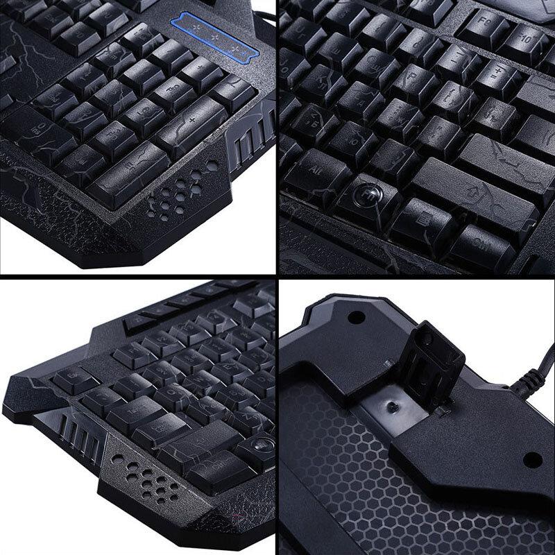 รัสเซียแป้นพิมพ์ Backlit Crack Gaming LED USB สายสีสันสดใสกันน้ำคอมพิวเตอร์