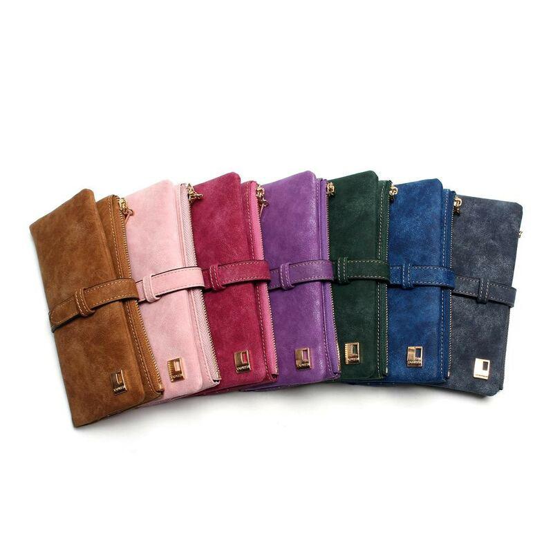 Billeteras de piel de nobuk con cordón para mujer, cartera con cremallera, diseño largo, doble pliegue, más Color, 2021