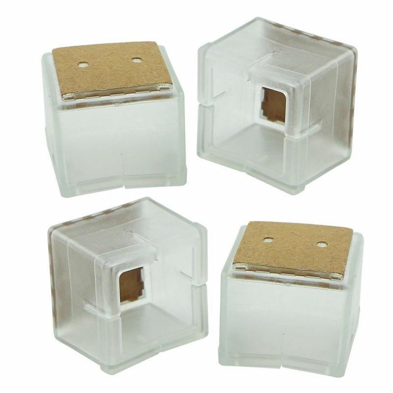 Gorros de pierna de silla cuadrados, 4 Uds., Almohadillas protectoras de pies de goma, cubiertas de muebles para mesas