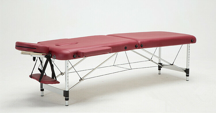 Camilla de masaje y relajación de aluminio, portátil, relajante, con cuna facial ajustable, cama de SPA, tatuaje, muebles de salón plegables
