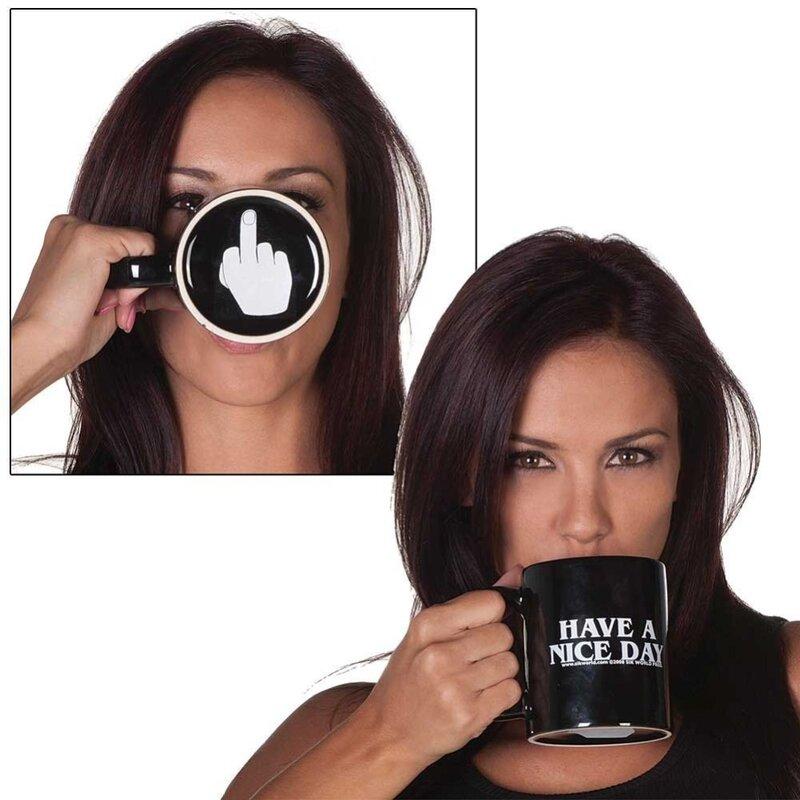 Creative Have A Nice Dayแก้วกาแฟนิ้วกลางตลกถ้วยสำหรับชากาแฟถ้วยNoveltyของขวัญ