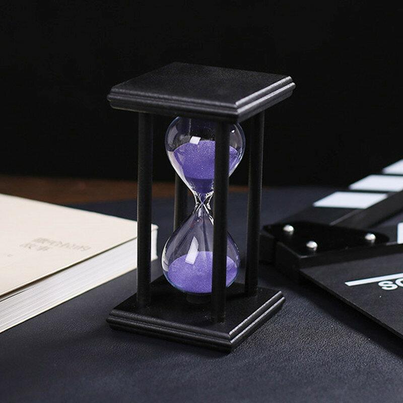 ساعة رملية خشبية مع مؤقت للعد التنازلي ، ساعة رملية 15/30 دقيقة ، 14.5 × 8 × سنتيمتر ، ديكور منزلي