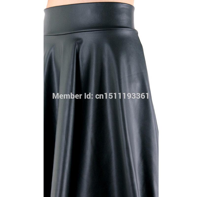 จัดส่งฟรีใหม่เอวสูงหนังFaux Skater Flare Casual Miniเข่าความยาวสีทึบกระโปรงสีดำS/M/L/XL