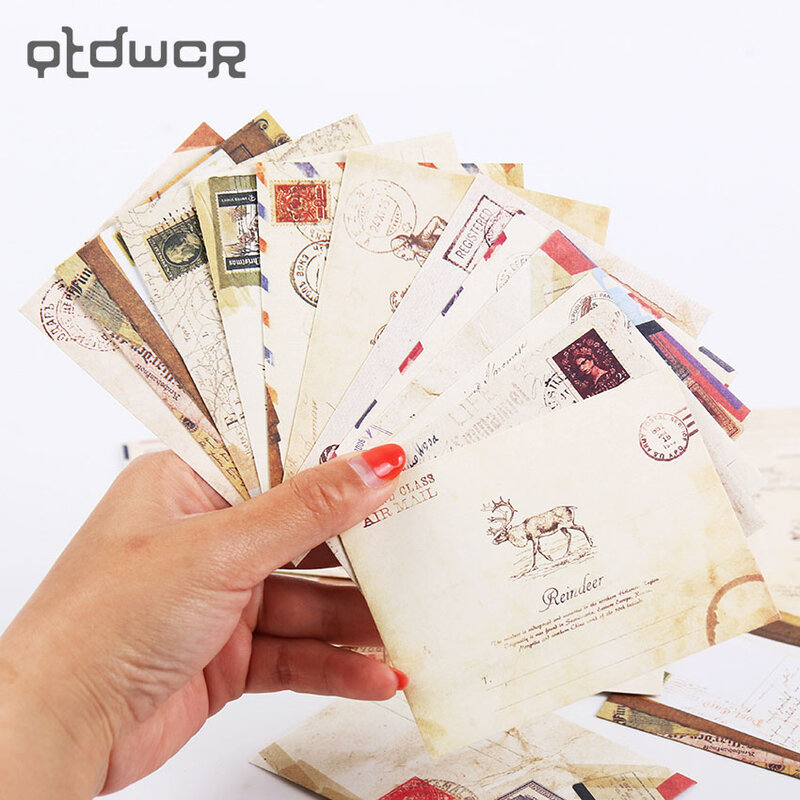 12 قطعة/الوحدة البسيطة لطيف Kawaii ورقة مغلف الرجعية خمر النمط الأوروبي ل بطاقة الكورية القرطاسية