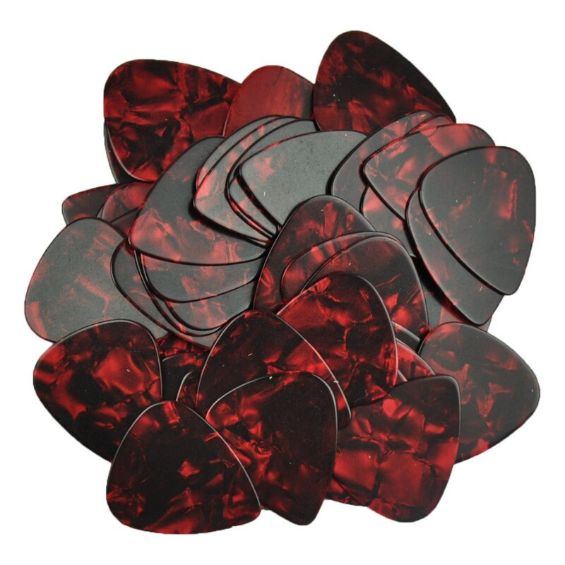 จำนวนมาก 100Pcsใหม่Medium 0.71Mm Blankกีต้าร์Picks Plectrums Celluloidเพิร์ลสีแดง