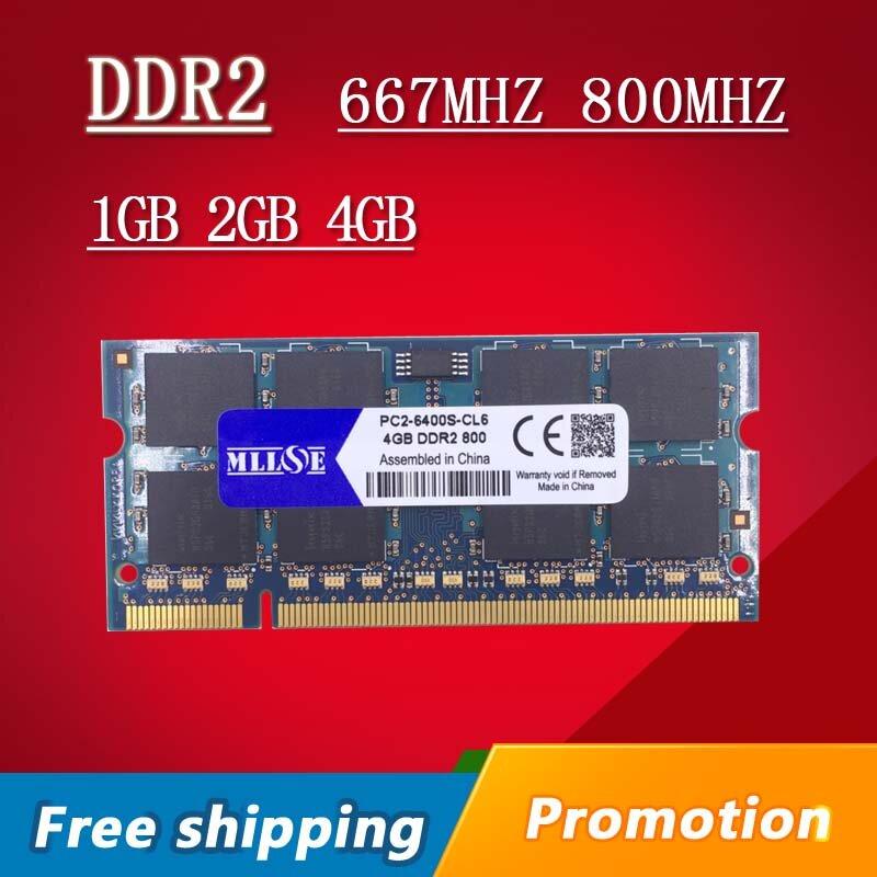 MLLSE 1gb 2gb 4gb DDR2 667 800 667mhz 800mhz PC2-5300 PC2-6400 1g 2g sodimm so-dimm sdram الذاكرة Ram ميموريال ل الدفتري المحمول