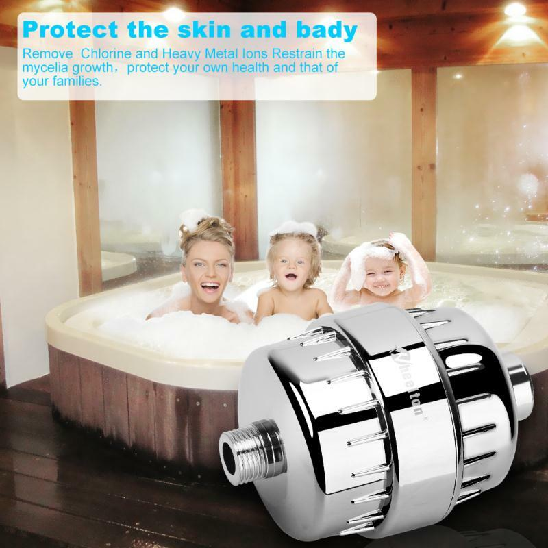 Wheelton Wasser Filter Purifier KDF + Calcium sulfit Dusche Bade Weichmacher Chlor Entfernung Befestigen 2 extra filter