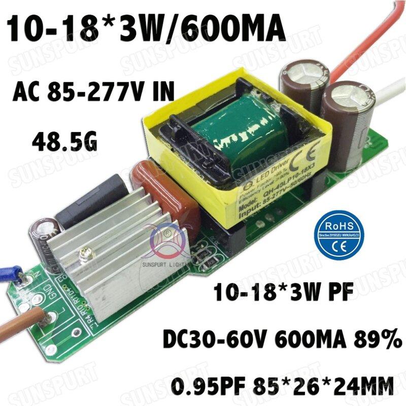 3 قطع العزلة 36W AC85-277V LED سائق 10-18x3W 600mA DC30-60V LEDPowerSupply المستمر الحالي أدى لمبة مصباح شحن مجاني