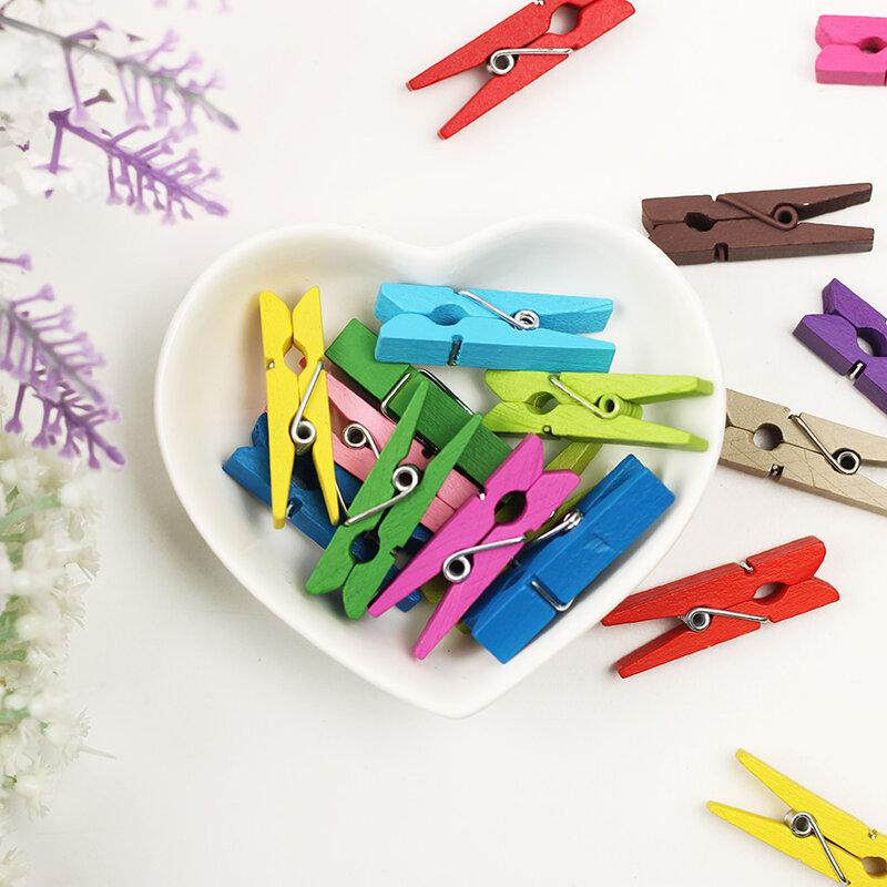 20 teile/los Frühling Clips Gelegentliche Mini Farbige Holz Foto Papier Peg Pin Clothespin Handwerk Clips Material Holz