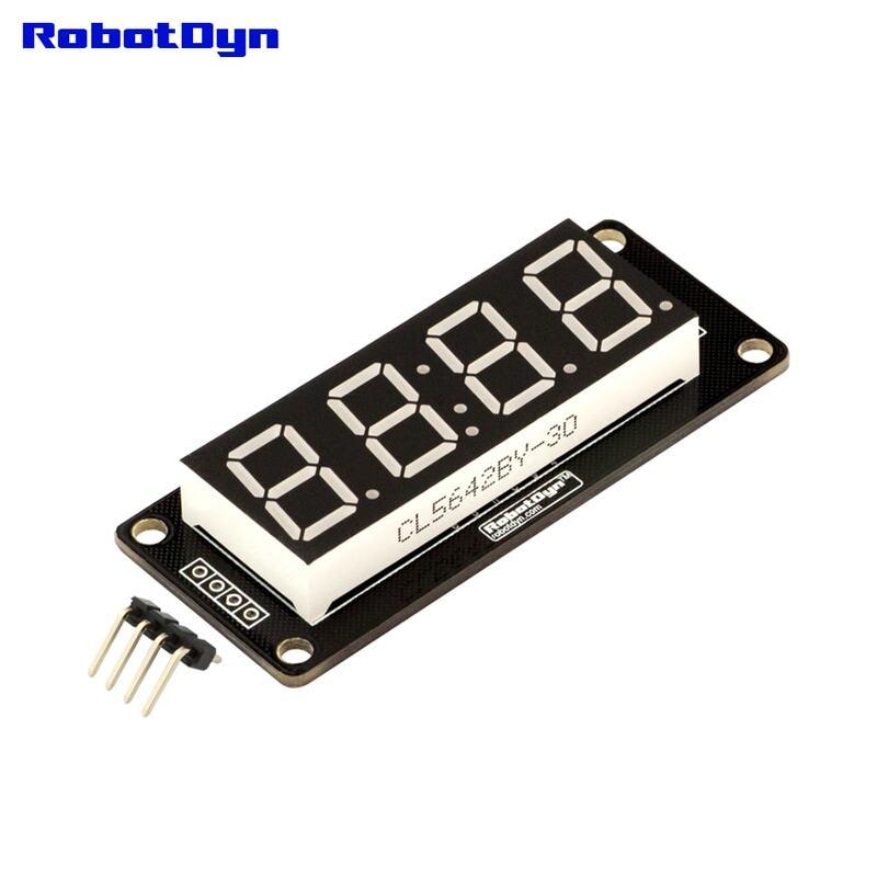 "4 dígitos LED 0,56 ""Pantalla tubo verde (reloj doble puntos) 7-segmentos TM1637... disp Tamaño 50x19mm"