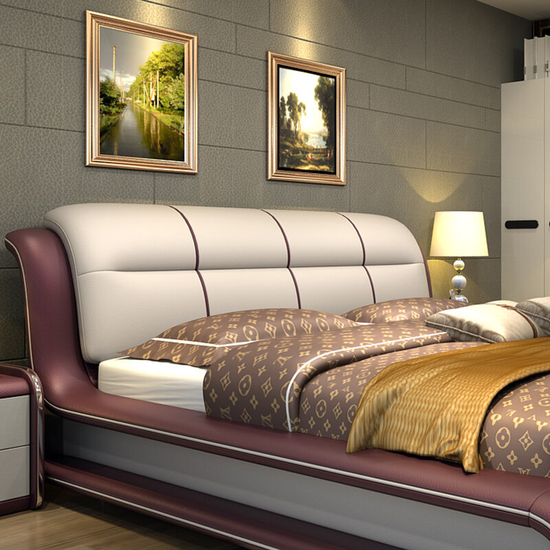 Moderna camera da letto mobili letto con cuoio genuino M01