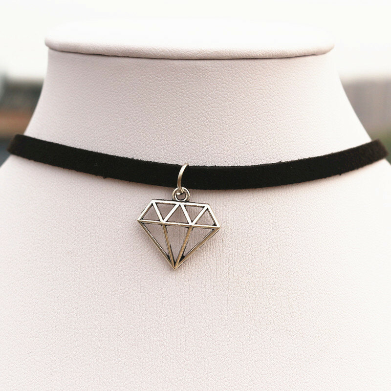 NK960-قلادة قوطية للرجال ، بانك ، مثلث الأبعاد ، جلد أسود ، سلسلة مخملية ، قلادة ، مجوهرات للنساء
